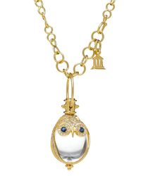 Temple St. Clair | Metallic 18k Owl Pendant With Blue Sapphire & Diamond Pave | Lyst