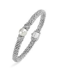 Lagos   Metallic Sterling Silver Luna Button Pearl Diamond X Rope Bracelet   Lyst