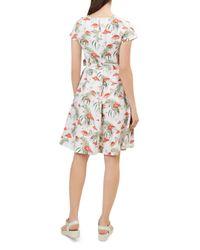 Hobbs - White Sorrento Flamingo Print Linen Dress - Lyst
