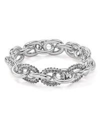 Aqua - Metallic Pavé Link Stretch Bracelet - Lyst