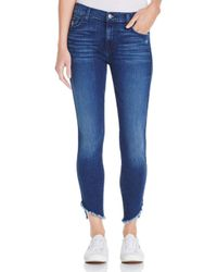 7 For All Mankind - Blue The Ankle Angled-hem Skinny Jeans In 5th Ave - Lyst