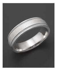 Bloomingdale's - Men's 14k White Gold Comfort Feel Engraved Wedding Band for Men - Lyst