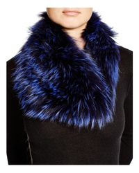 Badgley Mischka - Blue Fox Fur Infinity Scarf - Lyst