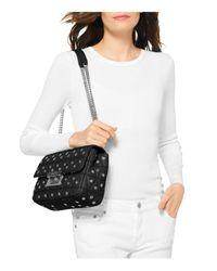 MICHAEL Michael Kors - Black Sloan Grommet Large Quilted Leather Shoulder Bag - Lyst