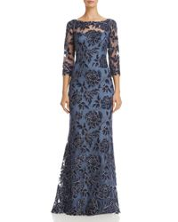 Tadashi Shoji - Blue Embroidered Lace Gown - Lyst