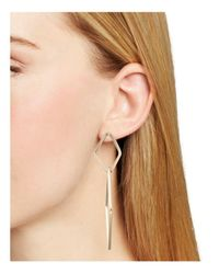 Aqua   Metallic Oana Double Drop Earrings   Lyst