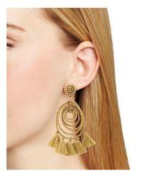 Aqua - Metallic Spiral Tassel Drop Earring - Lyst