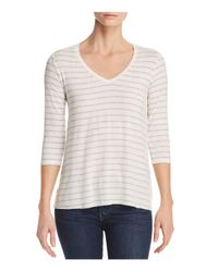 Majestic Filatures - Multicolor Striped V-neck Tee - Lyst