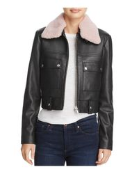 VEDA - Black Freeman Shearling-collar Leather Jacket - Lyst