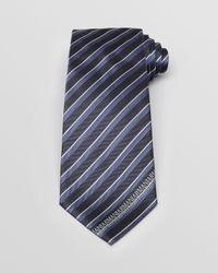Armani | Blue Tonal Stripe With Logo Edge Classic Tie for Men | Lyst