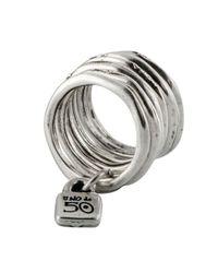 Uno De 50 - Metallic Stacked Lock Ring - Lyst