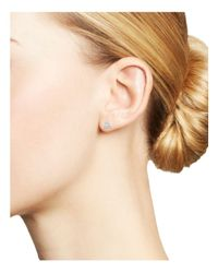 Mateo | Metallic 14k Yellow Gold Mini Diamond Triangle Stud Earrings With Cultured Freshwater Pearls | Lyst