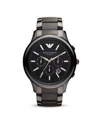 Emporio Armani - Black Ceramic Watch, 47mm for Men - Lyst