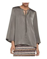 BCBGeneration | Green Bell Sleeve Tie-neck Blouse | Lyst