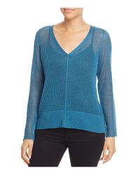 Eileen Fisher - Blue V-neck Sheer-knit Sweater - Lyst