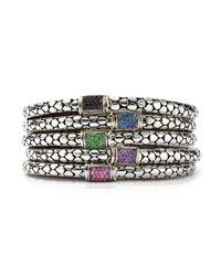 John Hardy - Metallic Sterling Silver Dot Lava Slim Chain Bracelet With Blue Sapphire - Lyst