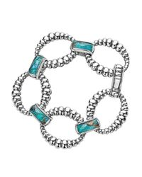 Lagos - Metallic Sterling Silver Maya Escape Chrysocolla Doublet Fluted Oval Link Bracelet - Lyst