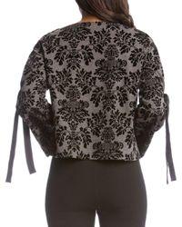 Karen Kane - Black Printed Tie-sleeve Top - Lyst