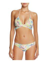 Tori Praver Swimwear - Green Floral Myra Wrap Bikini Top - Lyst