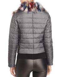 Maximilian Gray Fox Fur Mixed Media Jacket