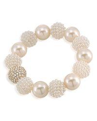 Carolee - White Simulated Pearl Beaded Bracelet - Lyst