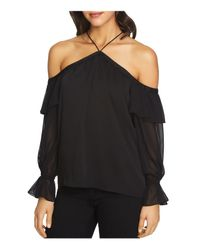 1.STATE Black Ruffled Off-the-shoulder Top