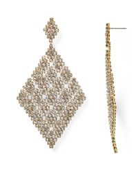 ABS By Allen Schwartz | Metallic Stone And Mesh Drop Earrings | Lyst
