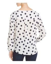 Three Dots - White Polka Dot Voile Tie Front Blouse - Lyst