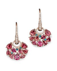 Roberto Coin - 18k Rose Gold Fantasia London Blue Topaz And Pink Tourmaline Earrings - Lyst