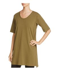 Eileen Fisher | Green Scoop Neck Tunic | Lyst