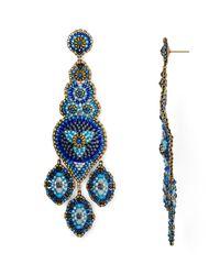 Miguel Ases | Blue Long Chandelier Beaded Drop Earrings | Lyst