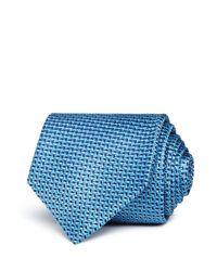 BOSS - Blue Neat Wavy-geo Silk Classic Tie for Men - Lyst