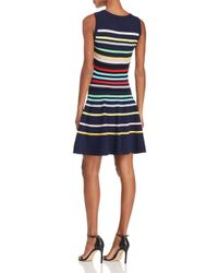 MILLY - Blue Rainbow Stripe Knit Dress - Lyst