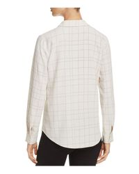 Eileen Fisher - White Check Print Collared Shirt - Lyst