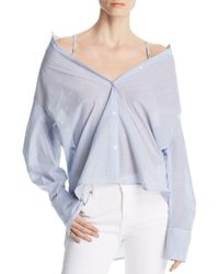 Kenneth Cole - Blue Striped Convertible Button-down Top - Lyst