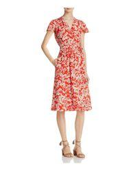 Rebecca Taylor - Red Cherry Blossom Silk Wrap Dress - Lyst