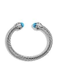 David Yurman   Cable Classics Bracelet With Blue Topaz & Diamonds   Lyst