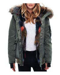 Sam. | Green Multi Luxe Sloane Fur-lined Down Bomber Jacket | Lyst