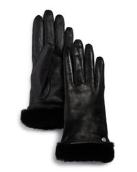 Ugg - Black Shorty Shearling - Cuff Leather Tech Gloves - Lyst