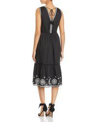 Kate Spade - Black Mosaic Embroidered Midi Dress - Lyst