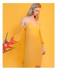 Elliatt - Yellow Marigold Pleated Off-the-shoulder Dress - Lyst