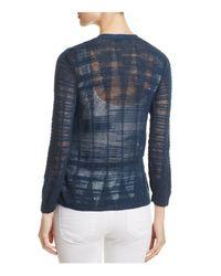 NIC+ZOE - Blue Textured Knit Cardigan - Lyst