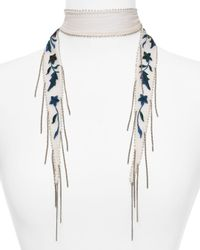 Chan Luu - Multicolor Star Floral Embroidered Skinny Scarf - Lyst