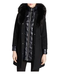CALVIN KLEIN 205W39NYC - Black Faux Fur Trim Mixed Media Coat - Lyst