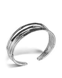 John Hardy | Metallic Bamboo Silver Lava Narrow Flex Cuff With Black Sapphires | Lyst