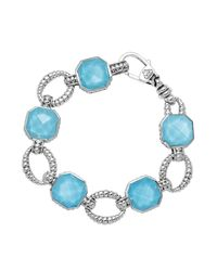 Lagos | Metallic Sterling Silver Turquoise Rocks Medium Link Bracelet | Lyst