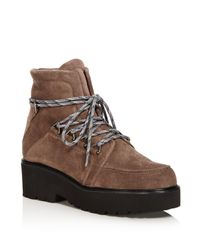 Stuart Weitzman - Brown Women's Belowdeck Suede Platform Lace Up Booties - Lyst