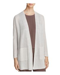 Eileen Fisher White Organic Linen-blend Open-front Cardigan