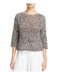 Eileen Fisher   Black Marled Open Knit Sweater   Lyst