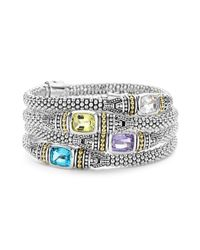 Lagos | Metallic 18k Gold And Sterling Silver Caviar Color Bracelet With Green Quartz | Lyst